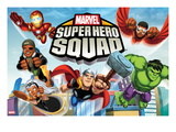 Marvel Super Hero Squad: Iron Man  Falcon  Nick Fury  Storm  Thor  and Hulk Flying