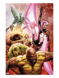 Thunderbolts 152 Cover: Luke Cage  Man-Thing  Songbird  Moonstone  Juggernaut  and Mark V Charging