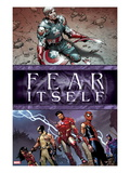 Fear Itself No6 Cover: Captain America  Iron Man  Spider-Man  Wolverine  Spider Woman and Hawkeye