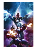 The Thanos Imperative 6 Cover: Star-Lord and Nova Shooting