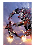 Invincible Iron Man 514 Cover: Iron Man Fighting and Flying