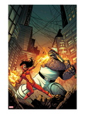 Spider-Island: Spider-Woman No1 Cover: Spider Woman and Thing Fighting in a City at Night