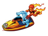Marvel Super Hero Squad: Iceman and Human Torch Riding Jetski