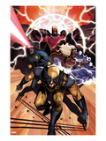 Origins of Marvel Comics: X-Men No1 Cover: Wolverine  Storm  Cyclops  and Magneto Running