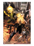 Heroes For Hire 1 Cover: Ghost Rider  Elektra  Punisher  Iron Fist  and Moon Knight Charging