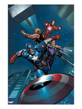 Ultimate New Ultimates No5: Captain America  Thor  Hawkeye  and Iron Man Flying and Throwing