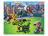 Marvel Super Hero Squad: Thor  Loki  Dr Doom  Iron Man  Abomination  Hulk  and Hawkeye Throwing