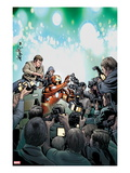 Invincible Iron Man 510 Cover: Iron Man in a Crowd of Reporters