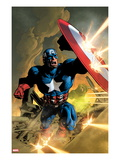 Secret Avengers 12 Cover: Captain America Fighting with his Shield