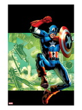 Captain America: Man Out of Time 4 Cover: Captain America Jumping with his Shield