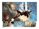 Invincible Iron Man 32: Panels with Iron Man Shooting