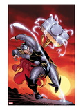 Astonishing Thor No3 Cover: Thor Throwing Mjolnir at Sunset