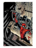 Marvel Adventures Spider-Man 5 Cover: Spider-Man Swinging from a Tall Building