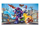 Marvel Super Hero Squad: Iceman  Falcon  Mr Fantastic  Sentinel  Thor  Colossus  Hulk and Iron Man