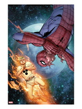 The Amazing Spider-Man No681 Cover: Human Torch and Spider-Man in Space