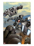 Iron Man 20 8 Cover: War Machine Fighting and Flying