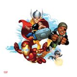 Marvel Super Hero Squad Badge: Iron Man  Thor  Nick Fury  and Wasp Flying