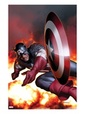 Captain America No2 Cover: Captain America Jumping and Throwing his Shield