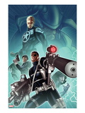 Secret Warriors 28 Cover: Nick Fury  Steve Rogers  and Dum Dugan Standing with Guns