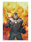 Iron Man 20 7 Cover: War Machine Standing and Flaming