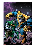 Avengers & The Infinity Gauntlet No4 Cover: Thanos and Dr Doom Fighting