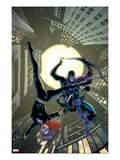 Marvel Adventures Super Heroes 17 Cover: Black Widow and Hawkeye Jumping