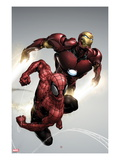 Carnage No1 Cover: Spider-Man and Iron Man Flying