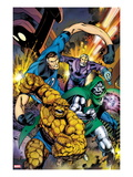 Fantastic Four No582 Cover: Thing  Mr Fantastic  and Dr Doom Running and Charging