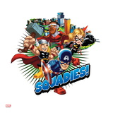 Marvel Super Hero Squad Badge: Squadies! Falcon  Ms Marvel  Captain America  and Thor Flying