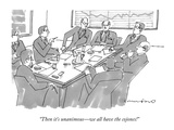 """Then it's unanimous—we all have the cojones!"" - New Yorker Cartoon"