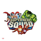 Marvel Super Hero Squad Badge: Wasp  Hulk  Iron Man  and Thor Flying