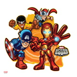 Marvel Super Hero Squad Badge: Iron Man  Captain America  Thor  and Luke Cage Posing