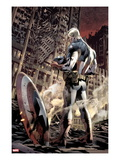 Ultimate Fallout 6 Cover: Captain America Standing  Looking at his Shield