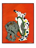 """Clown and Elephant ""June 1  1932"