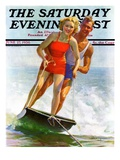 """Ski Boarding Couple "" Saturday Evening Post Cover  June 27  1936"