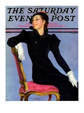 """Woman in Black "" Saturday Evening Post Cover  April 14  1934"