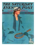 """Tennis in Blue "" Saturday Evening Post Cover  June 16  1934"