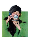 """Elegant Lady Drinking Cup of Tea ""February 20  1926"