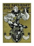 """Harlequin Mandolin Player "" Saturday Evening Post Cover  April 4  1931"