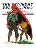 """Canoe Portage "" Saturday Evening Post Cover  March 24  1934"
