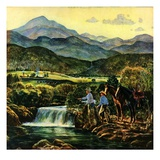 """Cowboys Fishing in Stream ""June 1  1950"