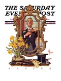 """Primping in Mirror "" Saturday Evening Post Cover  April 11  1936"