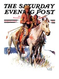 """Plains Indians "" Saturday Evening Post Cover  March 3  1934"