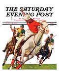 """Polo Match "" Saturday Evening Post Cover  June 9  1934"