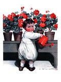 """Toddler Watering Geraniums ""June 28  1924"