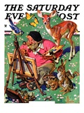 """Artist and Animals "" Saturday Evening Post Cover  May 26  1934"