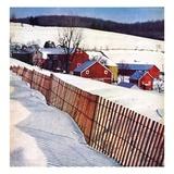 """Snowy Farm Scene ""February 1  1949"