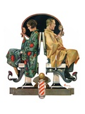 """Couple in Barber Chairs ""May 10  1930"