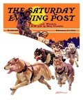"""Eskimo and Dog Sled "" Saturday Evening Post Cover  February 29  1936"