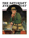 """Fishing at the Market "" Saturday Evening Post Cover  May 2  1931"